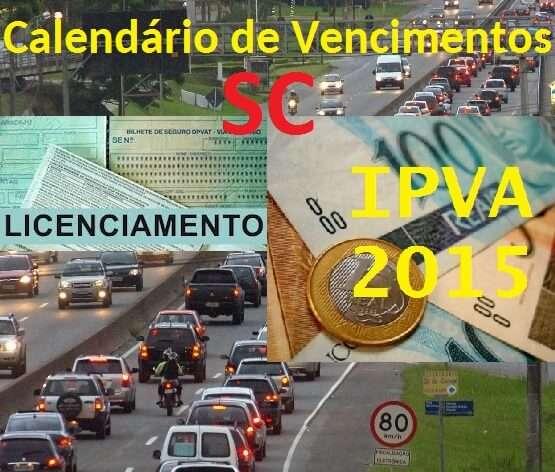 Calendário de Vencimentos IPVA e Licenciamento SC 2015