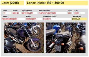 veiculo moto leilao 7 detran sc 2015 chapeco sc
