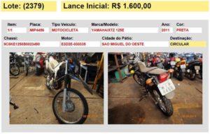 veiculo motocicleta leilao 07 detran sc 2015 sao miguel do oeste sc